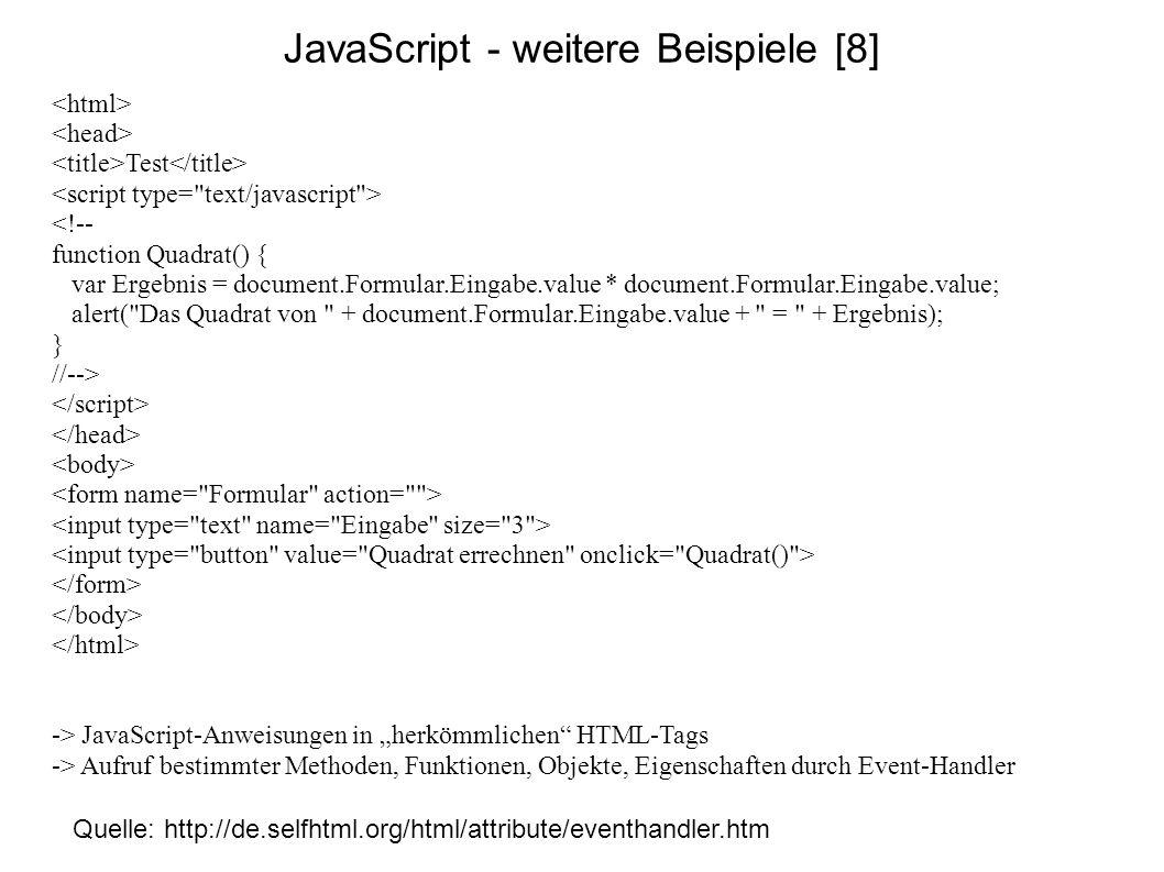 JavaScript - weitere Beispiele [8]
